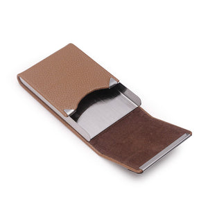 Unisex Genuine Leather Steel Clasp Credit Card Holder Wallet