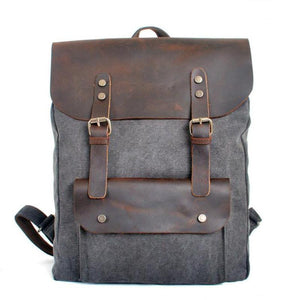 Leather Covered Vintage Canvas Backpack