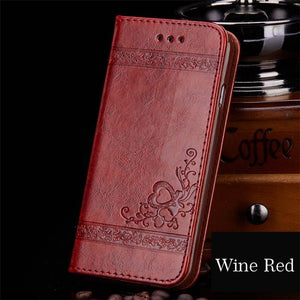 Floral Leather Flip Wallet Phone Case For iPhone