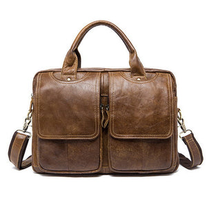 Two Pocket Genuine Leather Messenger Briefcase 14'' Shoulder Bag