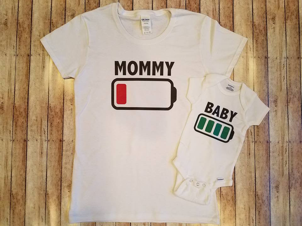 Mom and baby battery life shirts