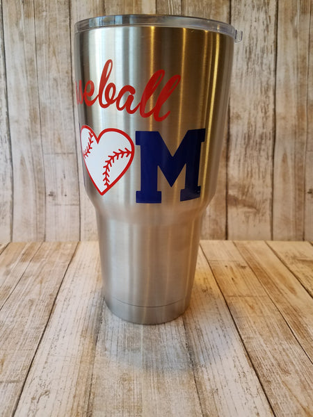 Baseball Mom Tumbler cup 30 oz. Stainless