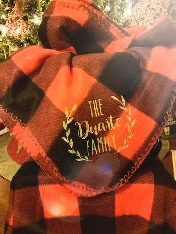 Personalized Buffalo Plaid Fleece Throw