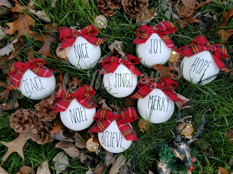 Farmhouse Style Ornaments - Set of 4 or 8