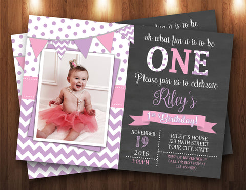 First Birthday Chalkboard, Chevron Photo Digital Invitation