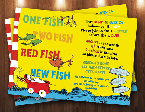 Dr. Seuss Baby Shower Digital Invitation One Fish, Two Fish, Red Fish, New Fish