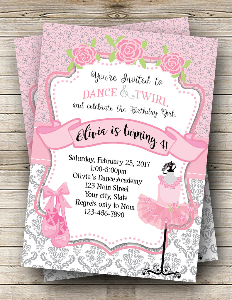 Ballerina, Tutu Birthday Digital Invitation