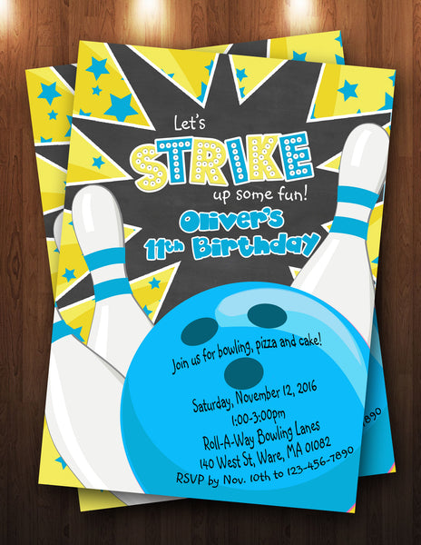 Bowling Party Digital Invitation (boy or girl)