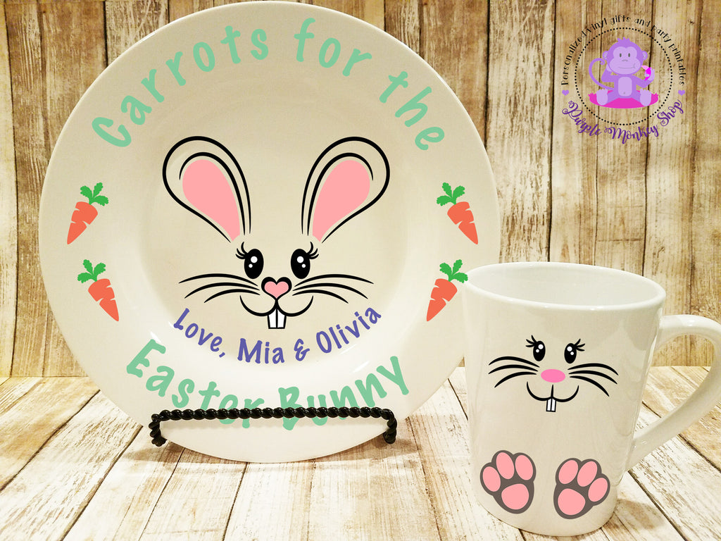 Carrots for the Easter Bunny plate and mug