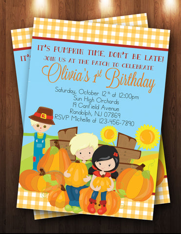 Fall Pumpkin Picking, Birthday Digital Invitation