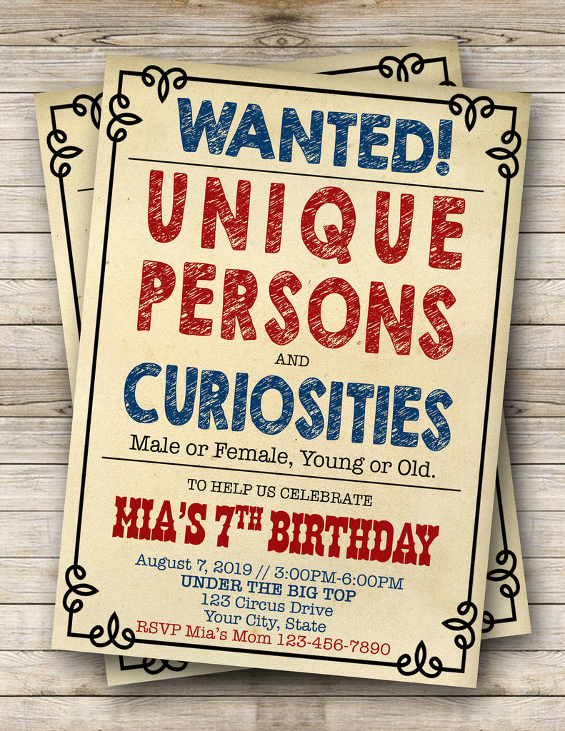 Carnival | Circus | Wanted Sign Birthday Invitation