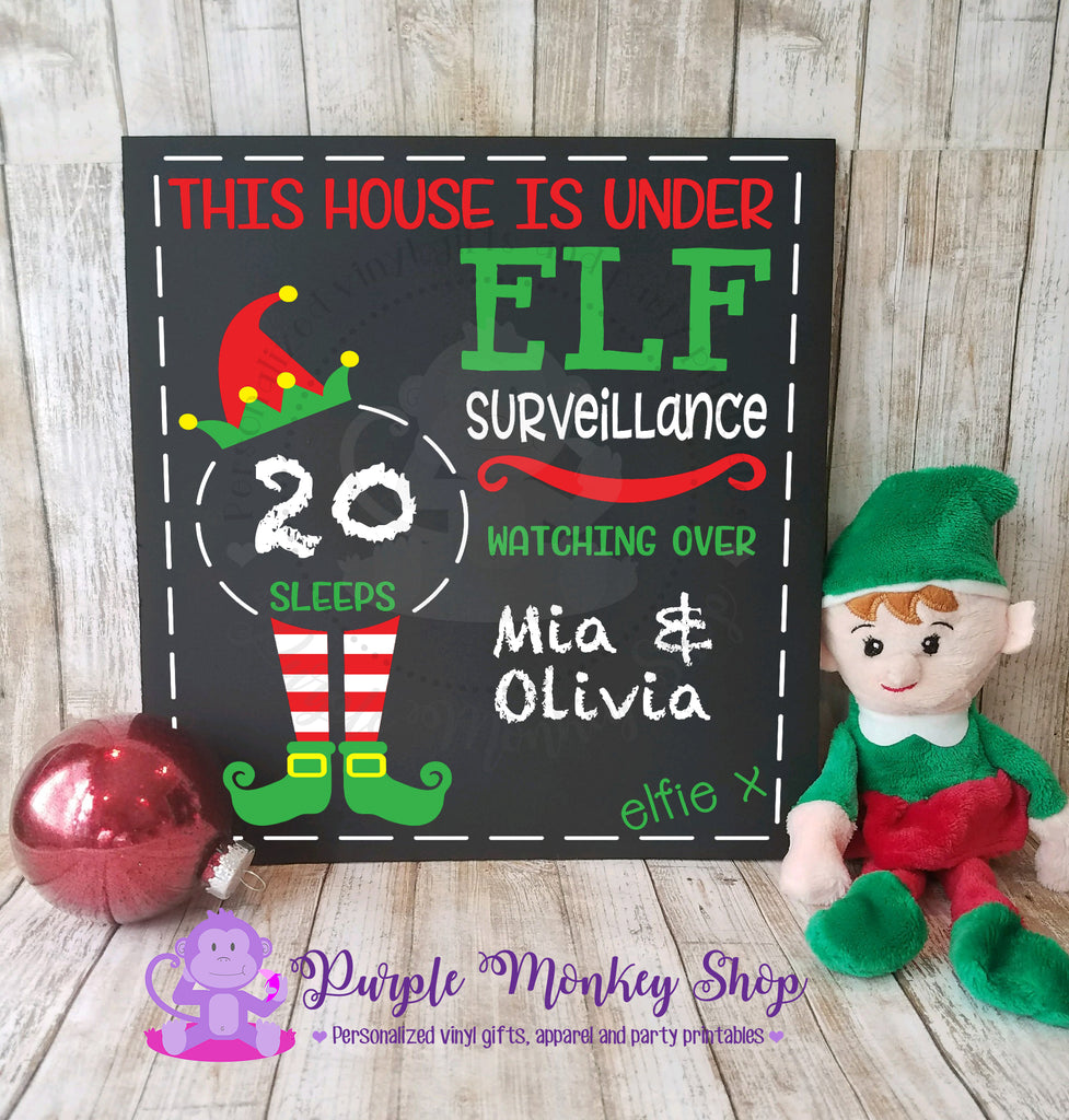 Christmas Elf Countdown Chalkboard