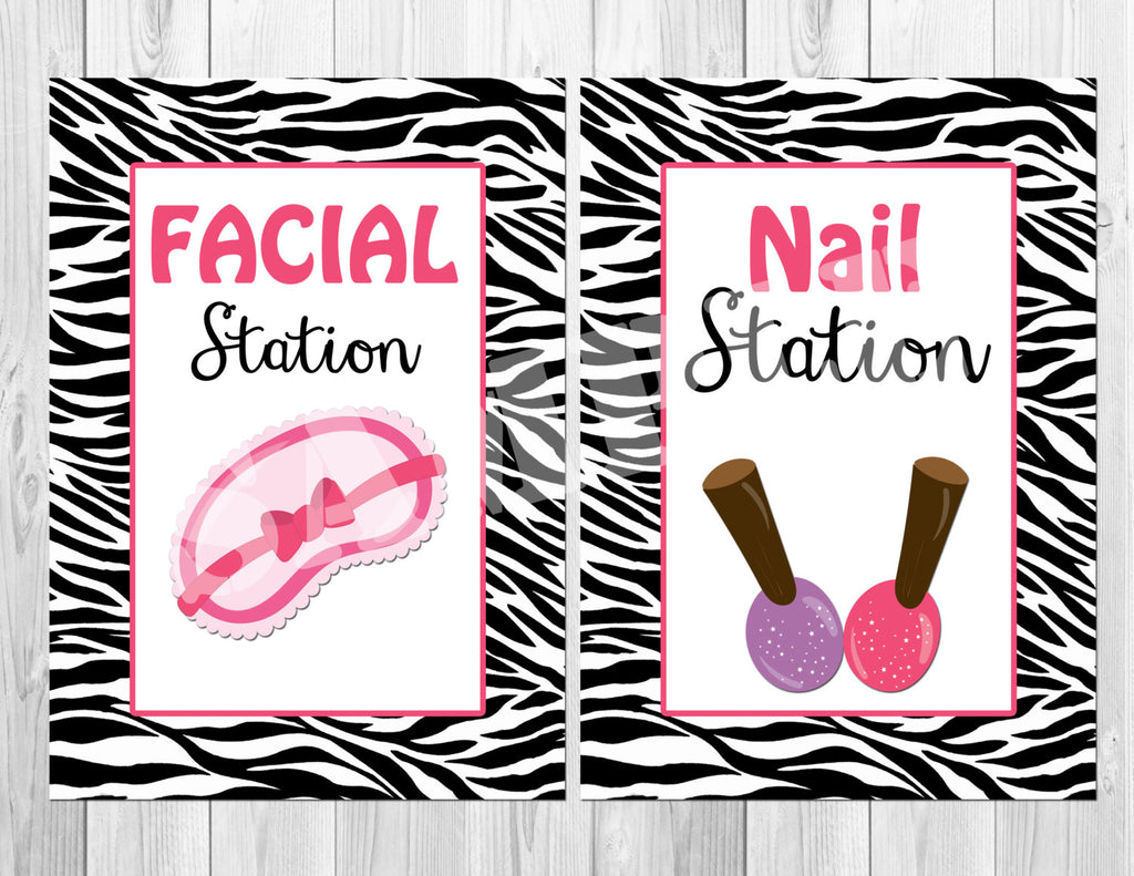 Spa Party Signs Instant Download