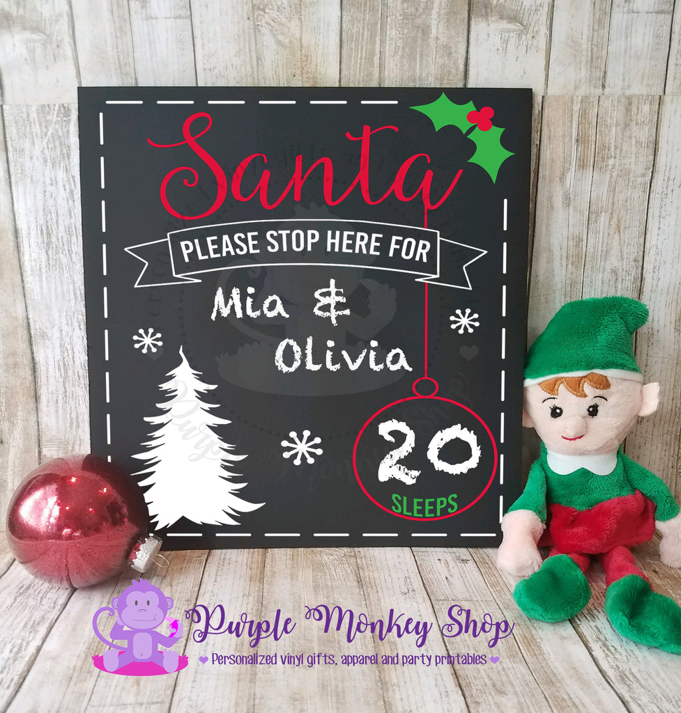 Christmas Family Countdown Chalkboard