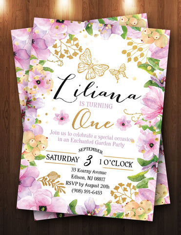 Floral, Butterfly, Enchanted Garden Digital Invitation