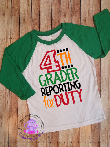 Back to School/First Day of School Shirt | Reporting for Duty