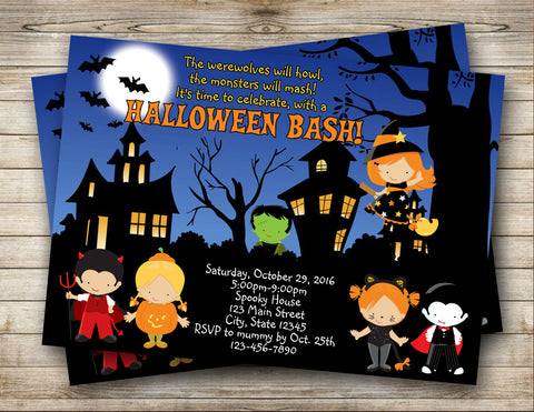 Halloween Bash, Halloween Party, Costume Party Digital