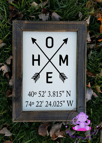 HOME Coordinates Canvas Sign | Housewarming Gift
