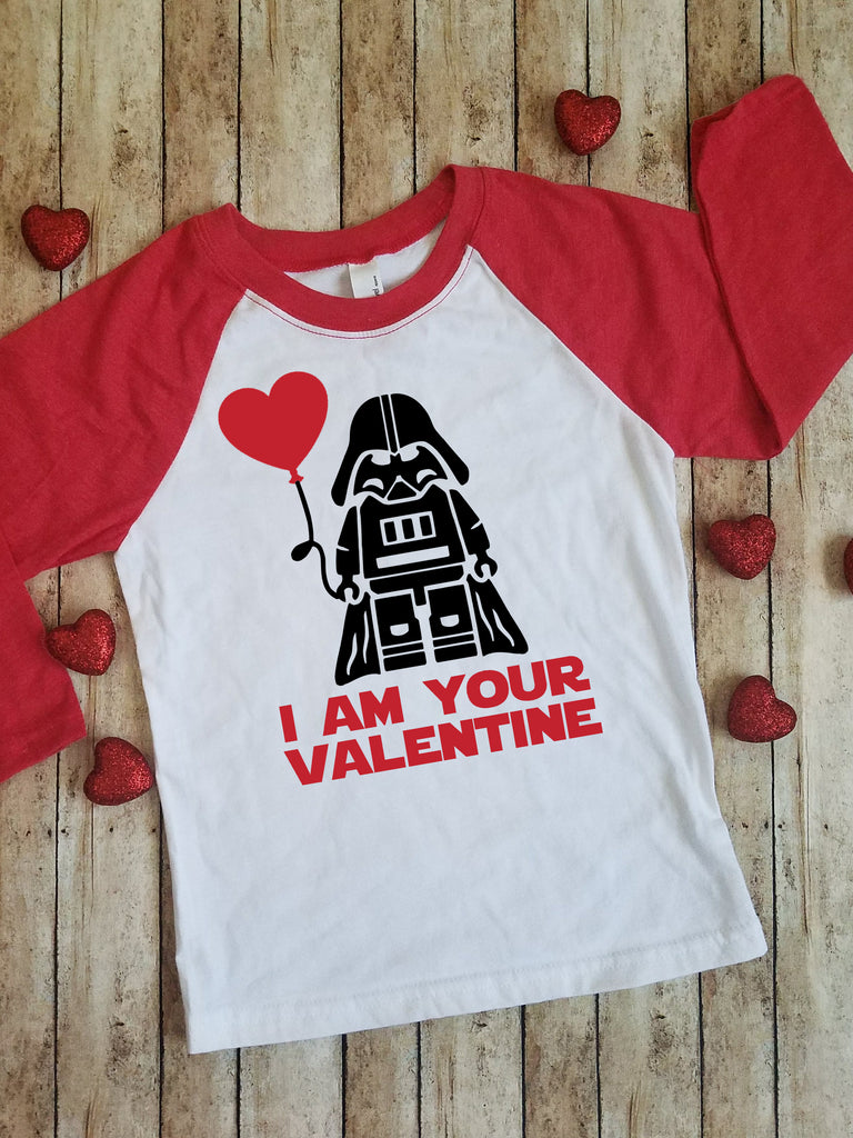 I Am Your Valentine Star Wars | Darth Vader | Lego | Kids Raglan|Baseball Tee Shirt | Valentine's Day