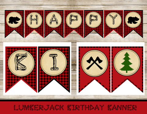 Lumberjack Digital Birthday Invitation Banner