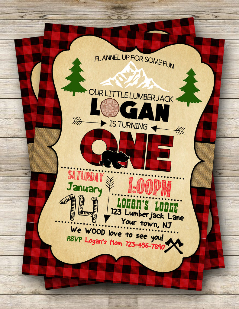 Lumberjack Digital Birthday Invitation