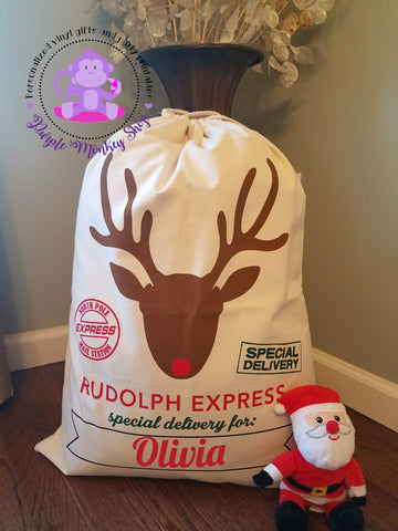 Canvas Personalized Santa Sack - Rudolph