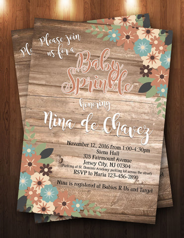 Wood, Rustic, Flower Baby Shower/Sprinkle Digital Invitation