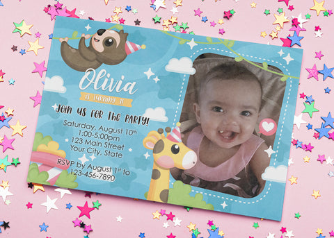 Baby Sloth/Giraffe Birthday Invitation