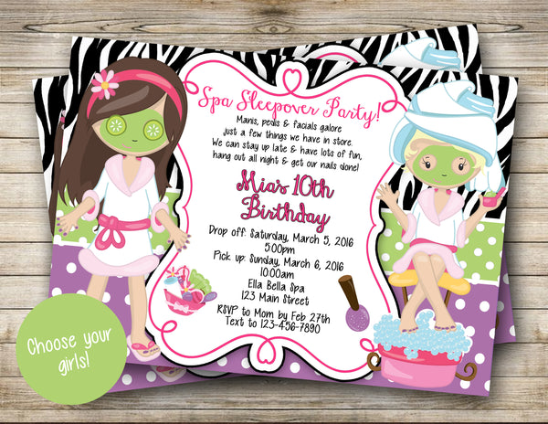Spa Sleepover Party Digital Invitation CHOOSE YOUR GIRLS