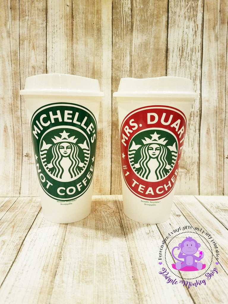 Personalized Reusable Teacher Starbucks Cup