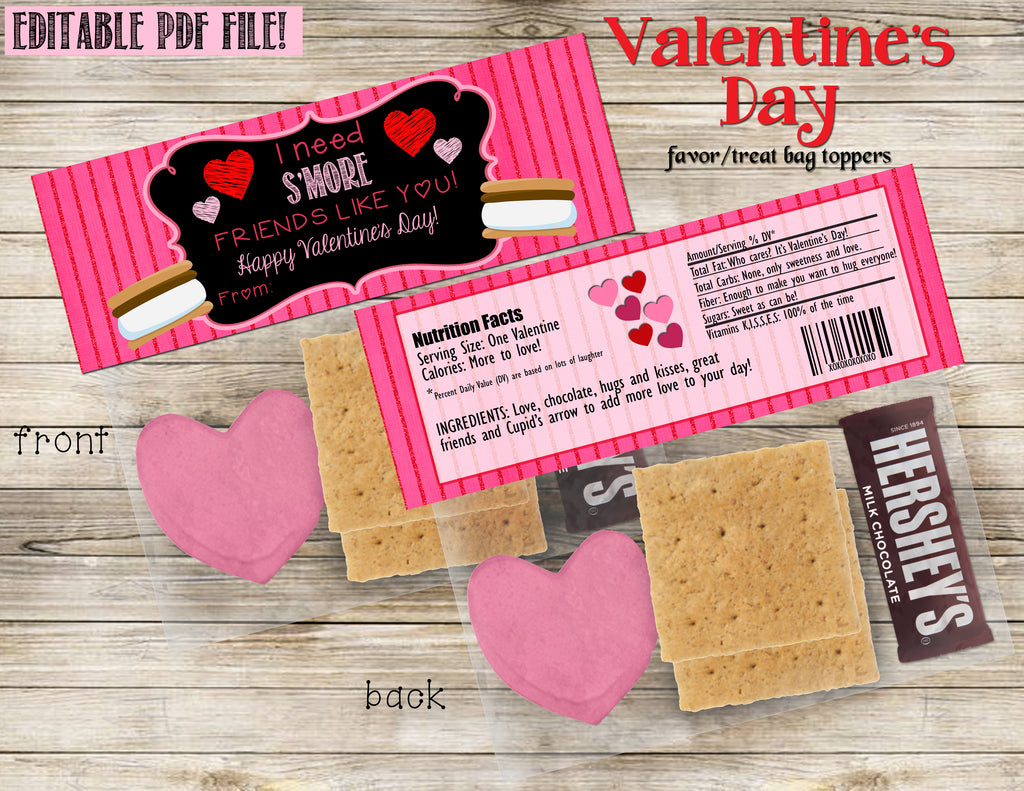 Valentine's Day favor/treat topper, DIY, Printable INSTANT DOWNLOAD