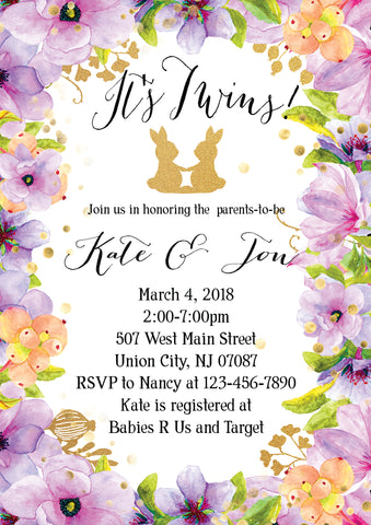 Floral, Twins, Bunny, Spring Baby Shower Digital Invitation