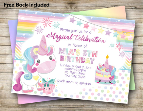 Unicorn Digital Birthday Invitation
