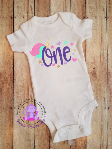 Unicorn First Birthday bodysuit/shirt