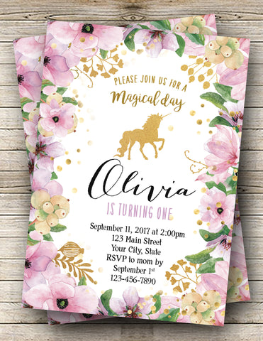 Unicorn Floral Digital Birthday Invitation