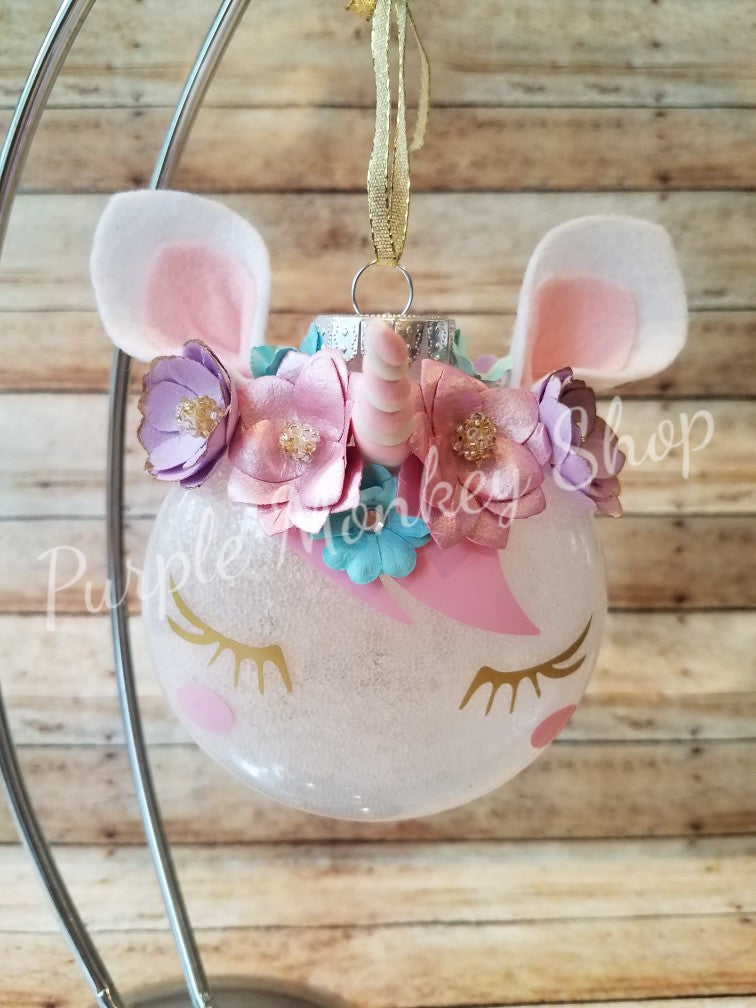 Personalized Unicorn Christmas Ornament | Glitter Ornament