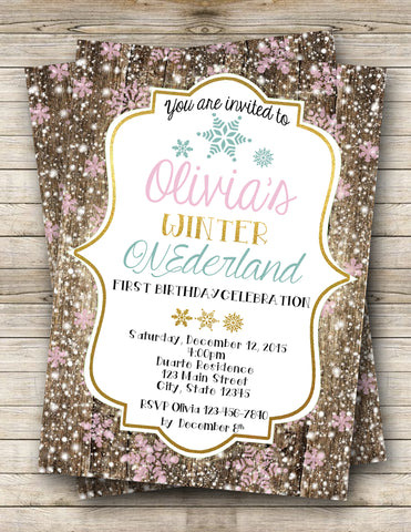 Winter Onederland Digital Invitation