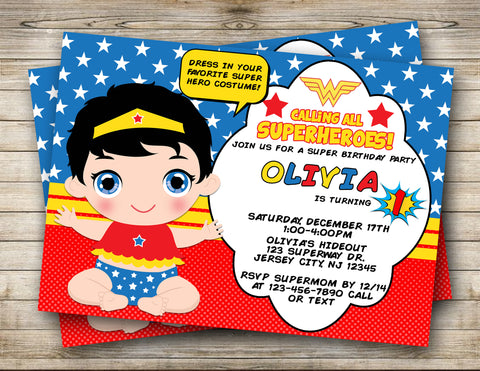 Wonder Baby First Birthday Digital Invitation