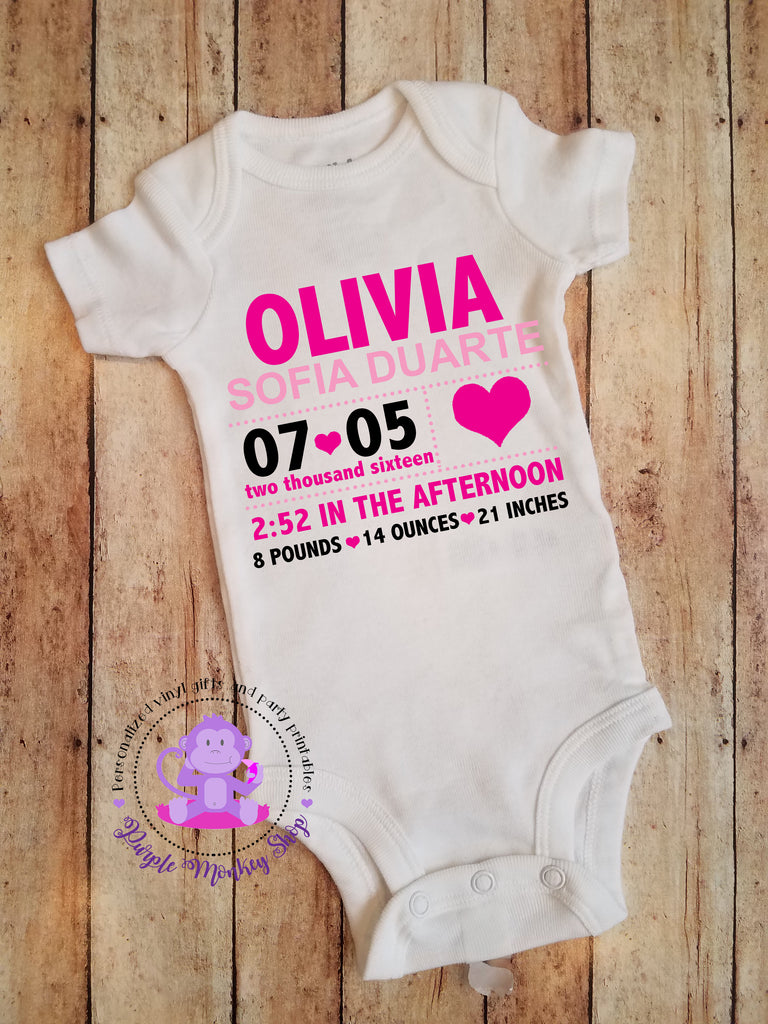 Birthday Announcement/Stats Bodysuit - Hospital Take Home Outfit