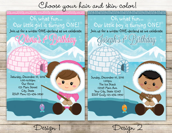 Winter ONEderland Eskimo Digital Birthday Invitation