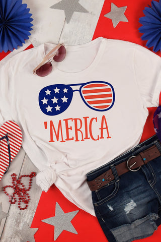 Fourth of July 'Merica Glasses T-Shirt