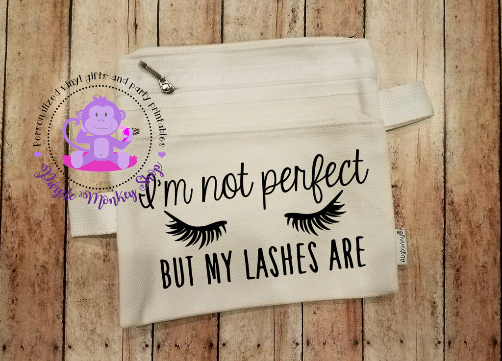 Cosmetic/Makeup Bag - I'm not perfect but my lashes are