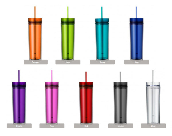 Life is Better at the Beach 16 0z. Skinny Double Wall Acrylic tumbler with Lid and Straw