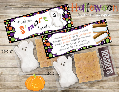 Halloween S'mores Treat Topper, Zip Lock Bag Topper, DIY, Digital