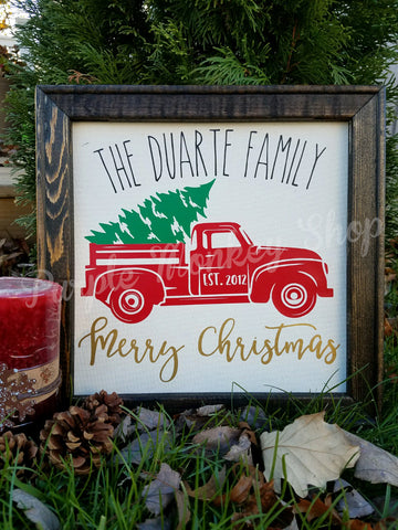 Red Christmas Truck sign