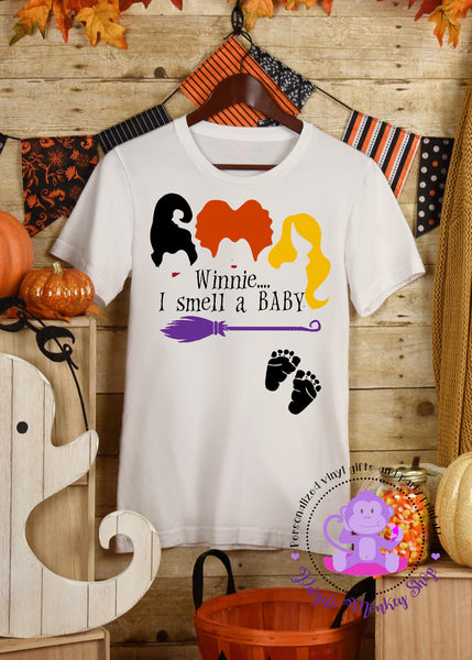Winnie I Smell a Baby Halloween Maternity Pregnancy Shirt