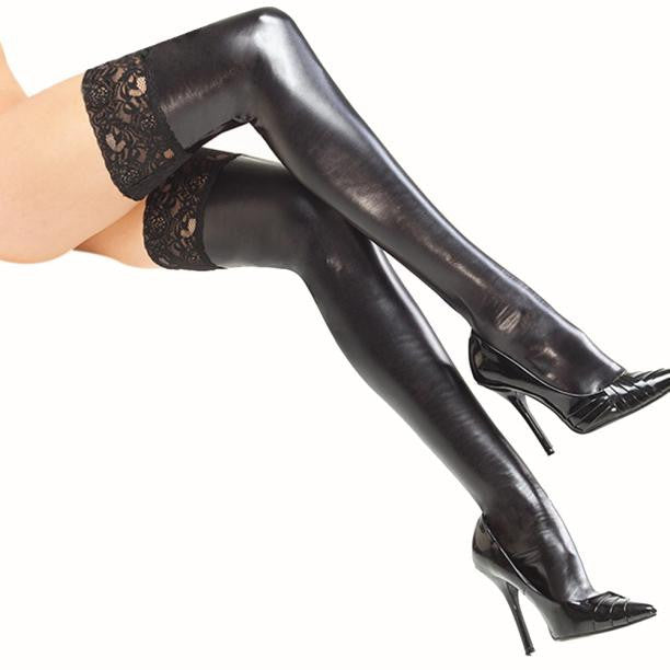 Sexy Women's Patent leather Lingerie Black Thigh High Stockings With Lace