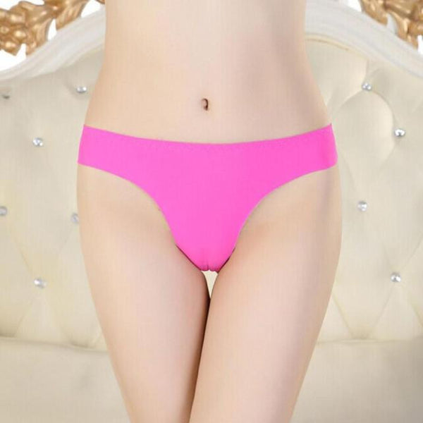 Women Invisible Underwear Thong Cotton Spandex Gas Seamless Crotch XL BK