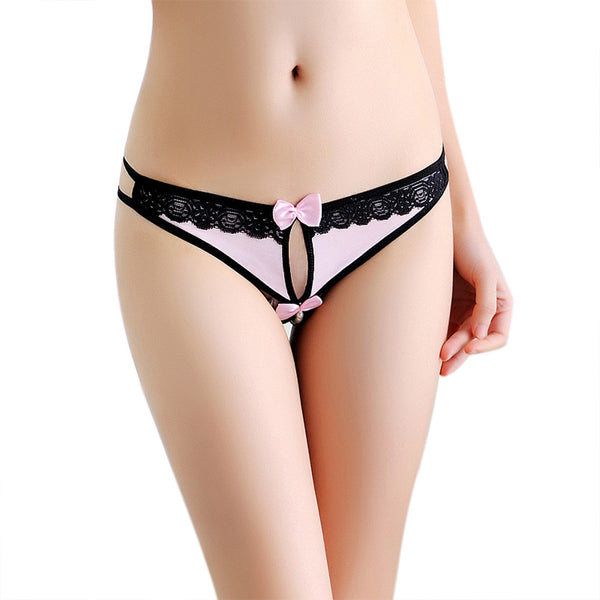 Women Sexy Panties Perspective Lace Underwear Low Rise Thong Pants Clothes BK