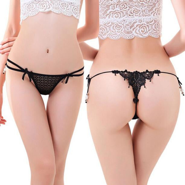 Women Sexy Lace Knickers Panties Lingerie Briefs Underwear Thongs G-string BK
